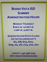 Summer Administration Hours
