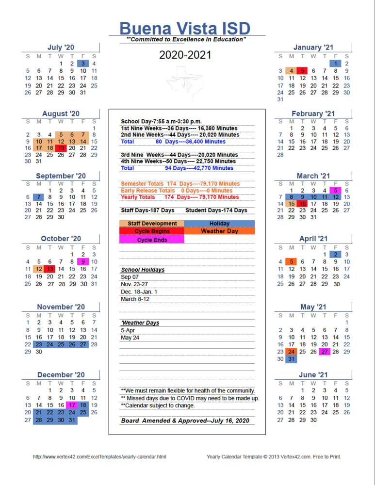 2020-2021 Amended District Academic Calendar