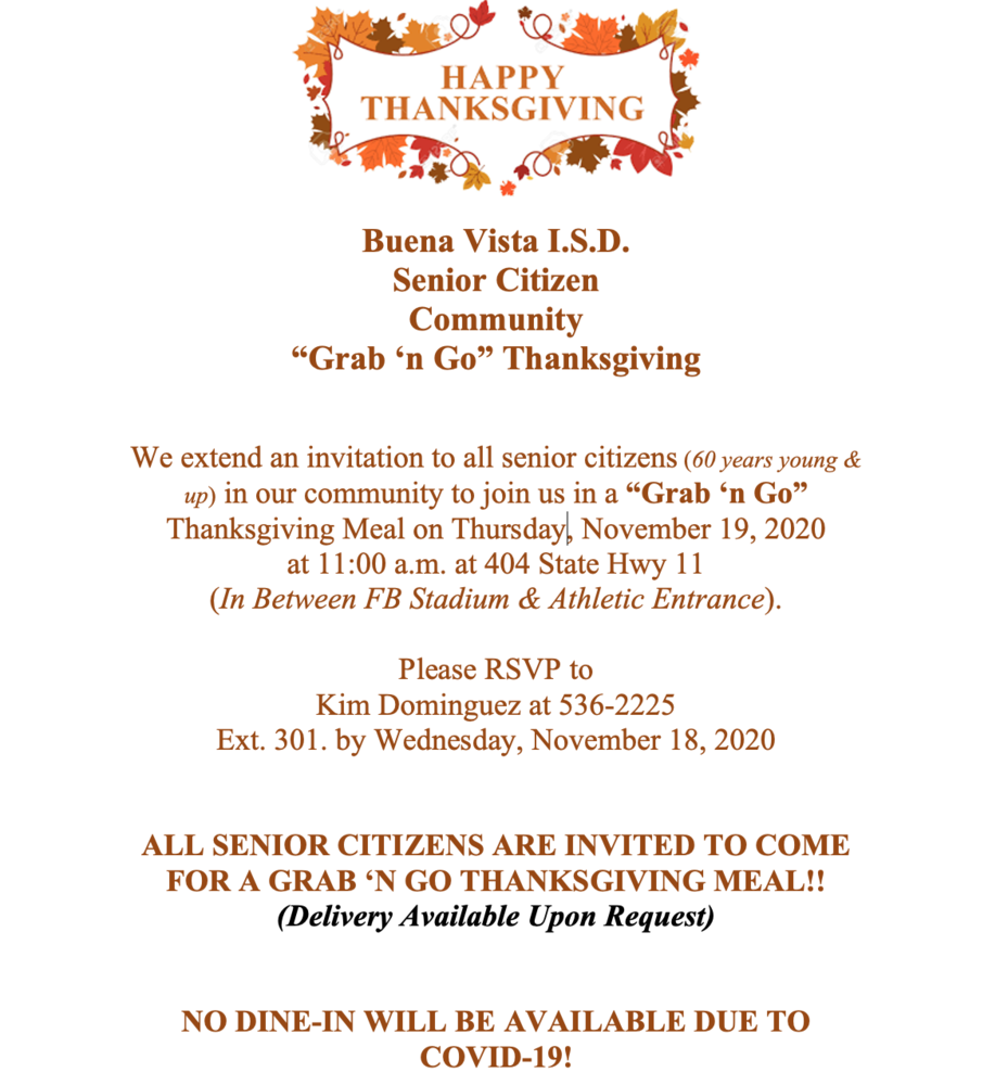 "Senior Citizen Thanksgiving-""Grab 'n Go"""
