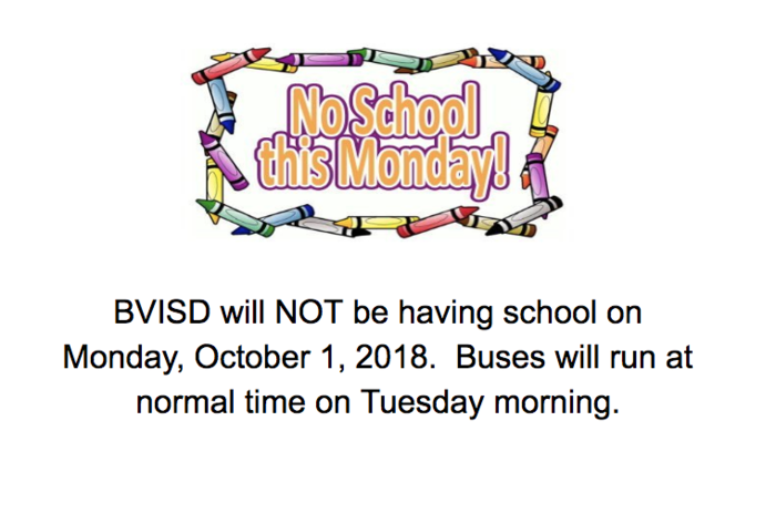 No School Monday 10/1/18
