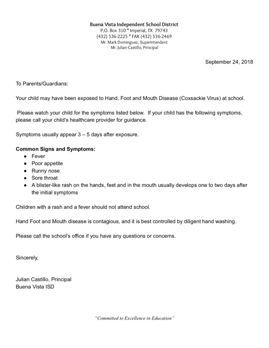 Letter to parents-9/24/18