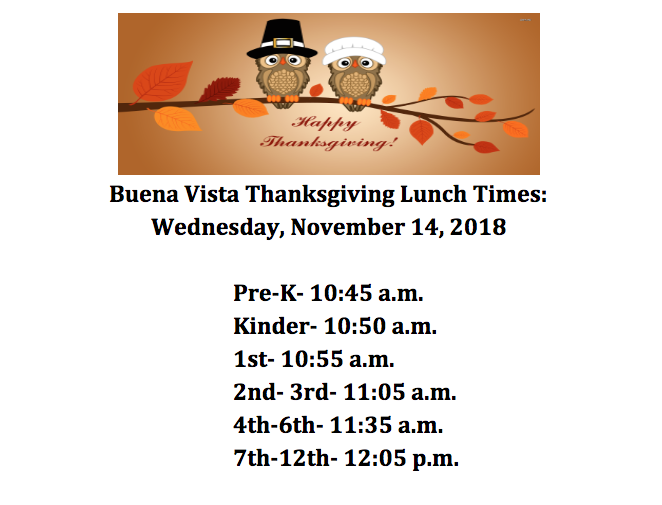 Thanksgiving Lunch Times
