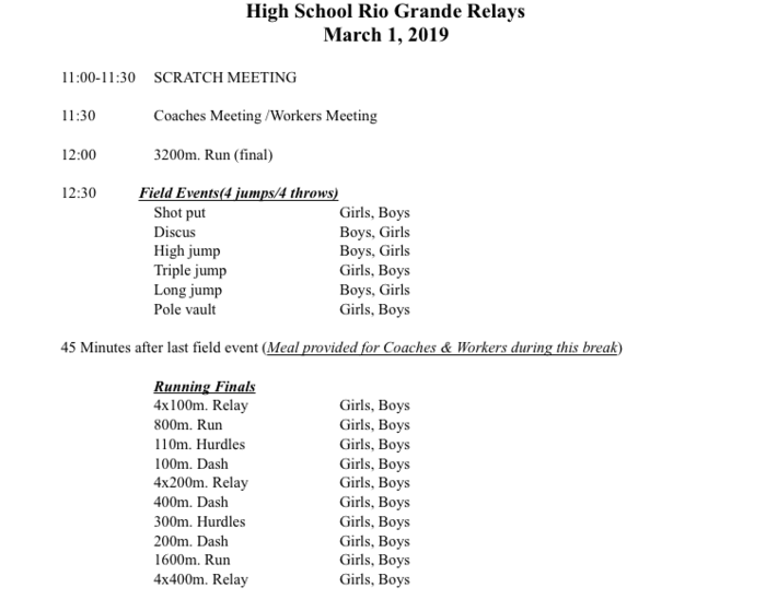Sanderson Track events