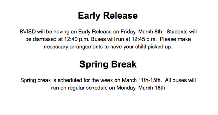 Early Release/ Spring Break 2019