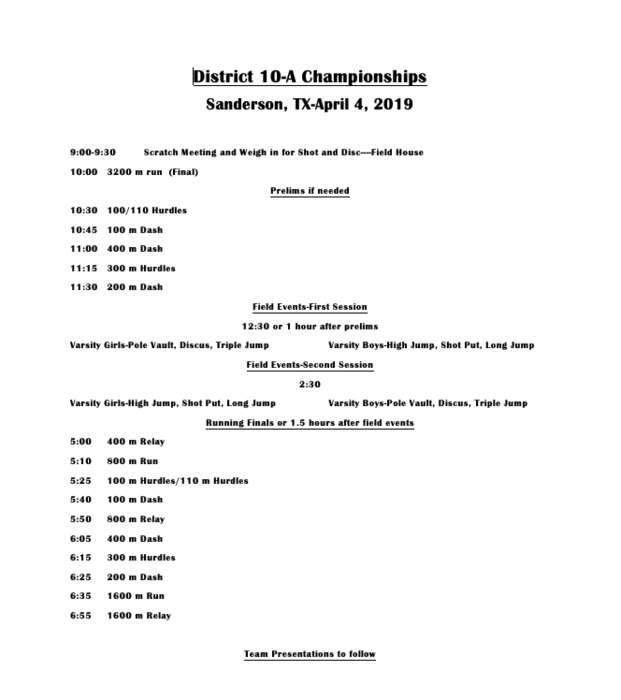HS District Track Schedule