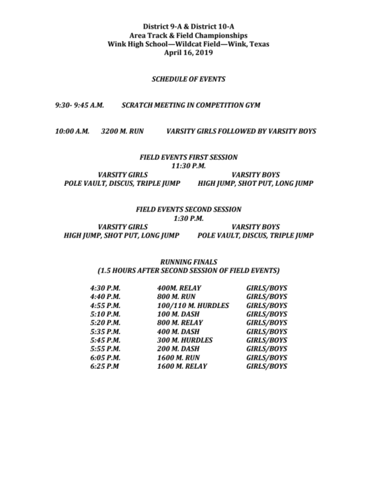 Area Track Schedule of Events
