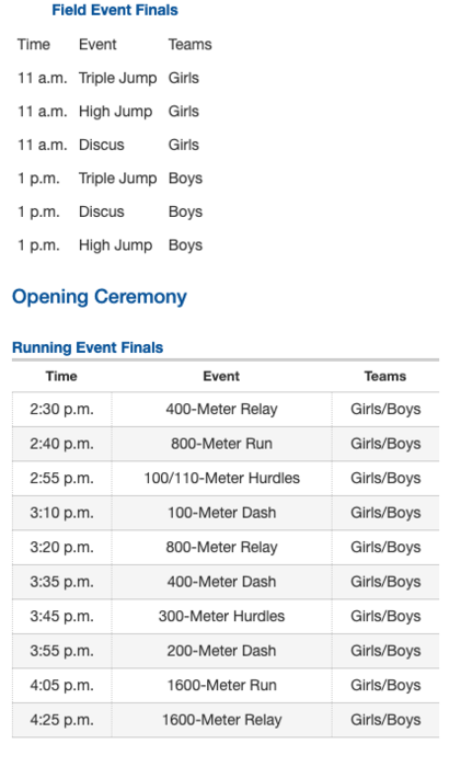 Saturday Regional Track Schedule