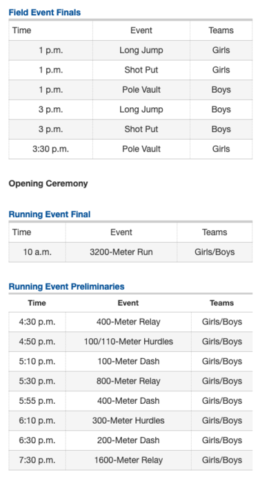 Friday Regional Track Schedule