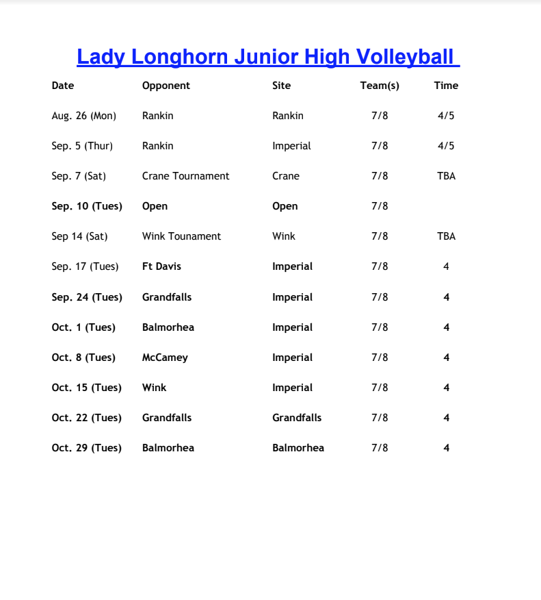 JH Volleyball Schedule