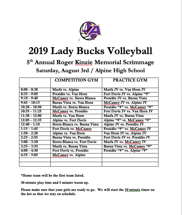 Alpine Volleyball Scrimmage Schedule