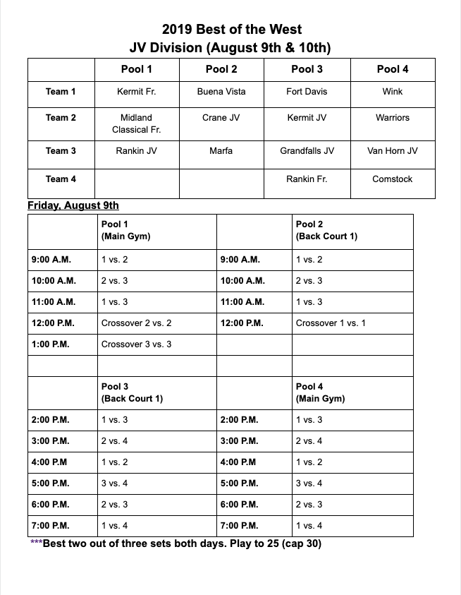Wink JV Volleyball Schedule