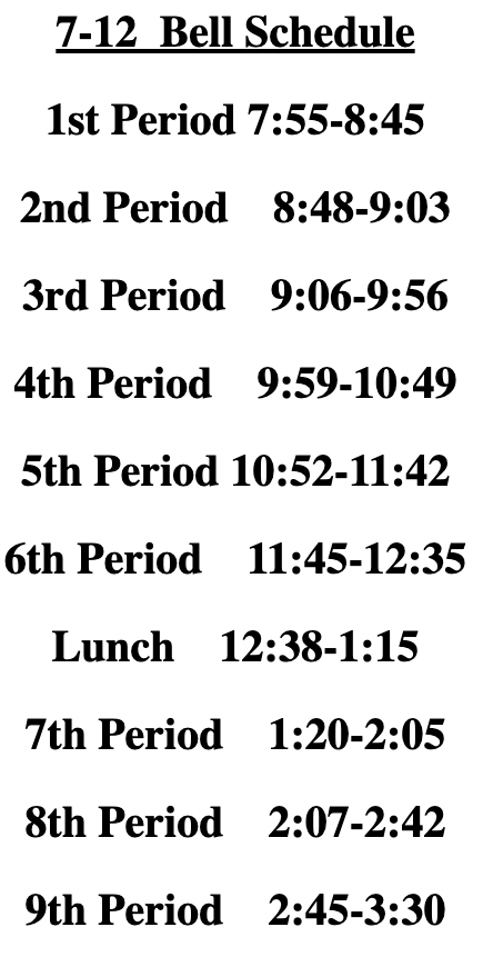 7-12th Bell Schedule
